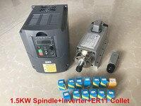 1.5KW с воздушным охлаждением двигателя шпинделя ЧПУ шпинделя + 220 В инвертор VDF + 1 компл. Er11 цанговый площадь фрезерные машины
