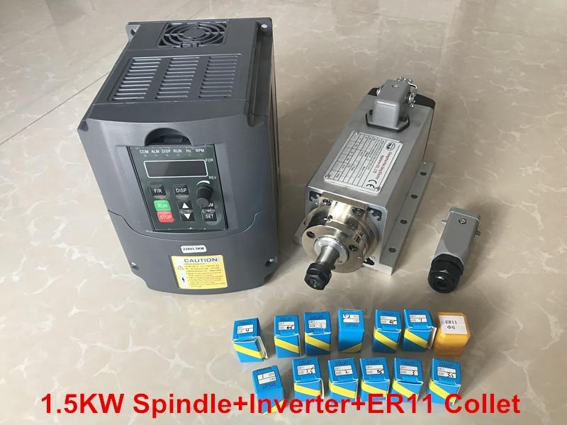 1.5KW Air Cooled Spindle Motor CNC Machine Tool Spindle + 220V Inverter VDF+ 1set Er11 Collet Square Milling Machine 1 5kw air cooling spindle square model er11 cnc spindle motor machine tool spindle