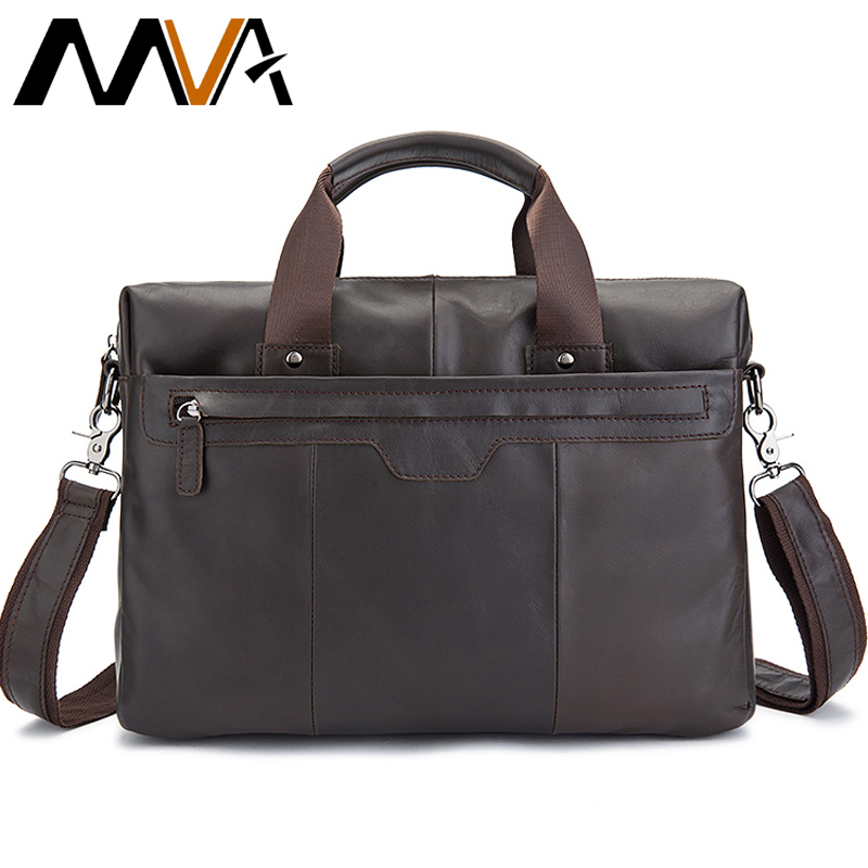 MVA Genuine Leather Men Bags Men's Briefcase Handbags Totes Leather Laptop Bag 14 inch Men Shoulder Crossbody Bags Male Bag 8013 mva genuine leather men bag business briefcase messenger handbags men crossbody bags men s travel laptop bag shoulder tote bags