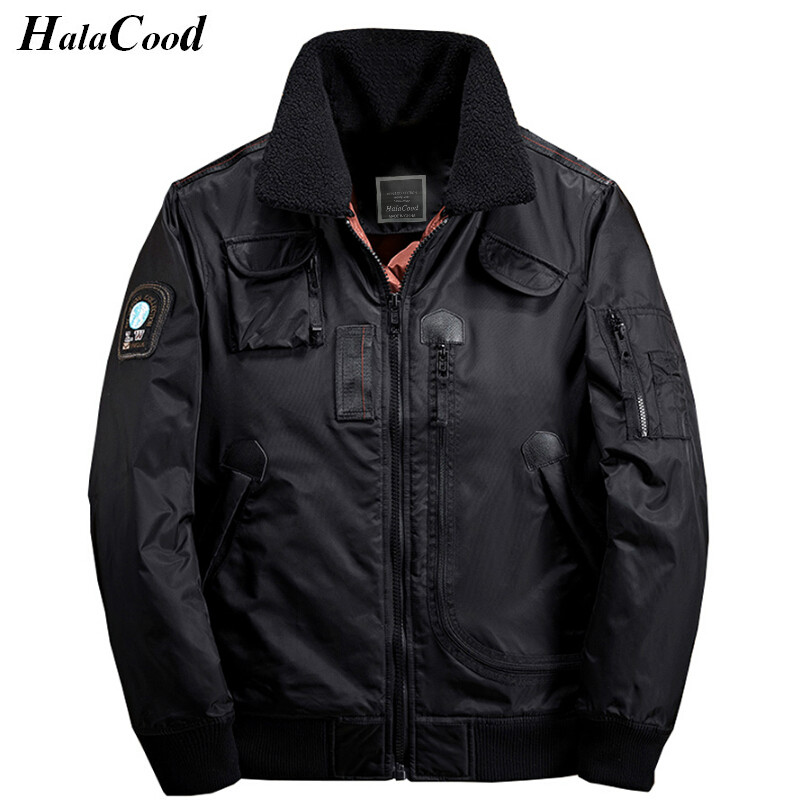 High Quality New Bomber Jacket Men Zipper Pocket Windproof Fleece Collar Windbreaker Thick Parka Warm Winter Jackets Men Coats
