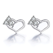 цена 100% 925 sterling silver romantic love heart shiny crystal ladies`stud earrings jewelry women no fade Anti allergy cheap в интернет-магазинах