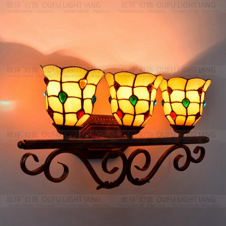 Us 109 12 40 Off Tiffany Fashion European Style Wall Lamp Baroque Bohemia Mirror Light Rustic Bed Lighting Lamps In From Lights