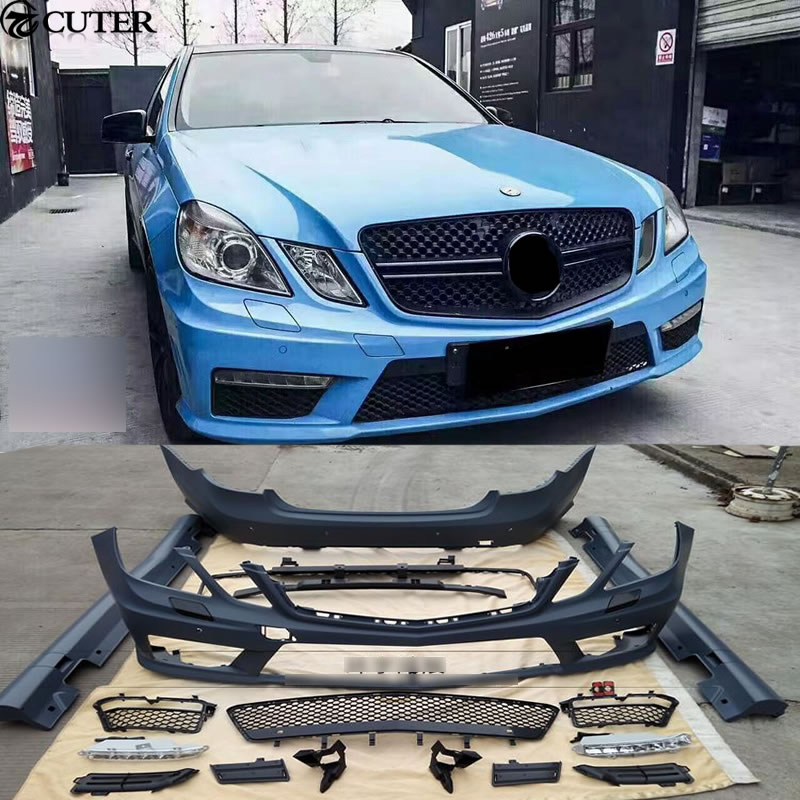 W212 E63 AMG style FRP Unpainted front bumper rear bumper side skirts for  Mercedes Benz W212 E300 AMG Car body kit 10-13