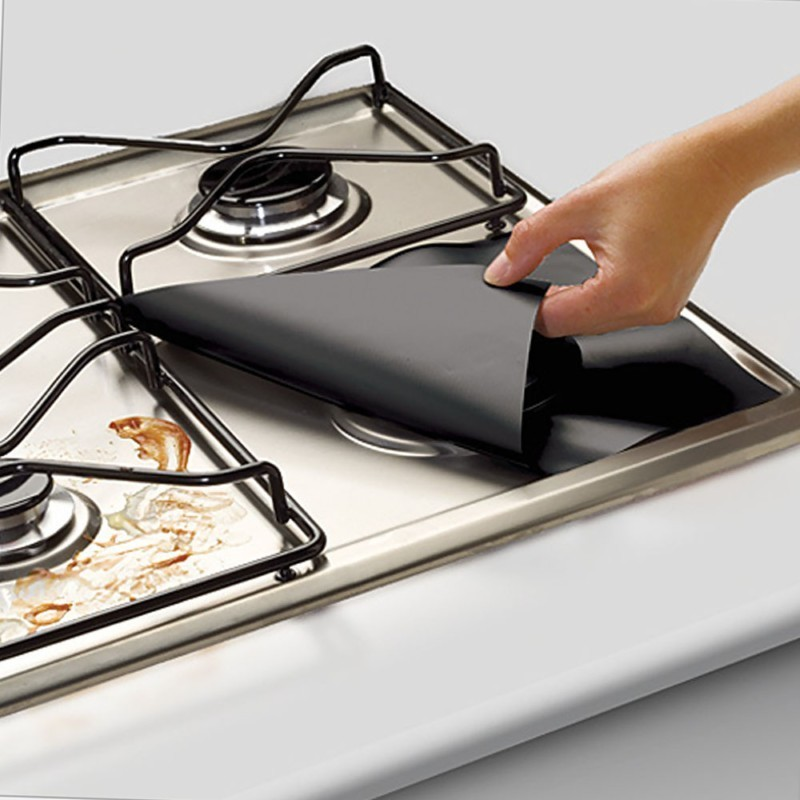 4pcs /lot Cleaning Kitchen Tools Baking Mat Reusable Gas Range Stovetop Burner Protector Liner Cover Home Fit Almose Gas