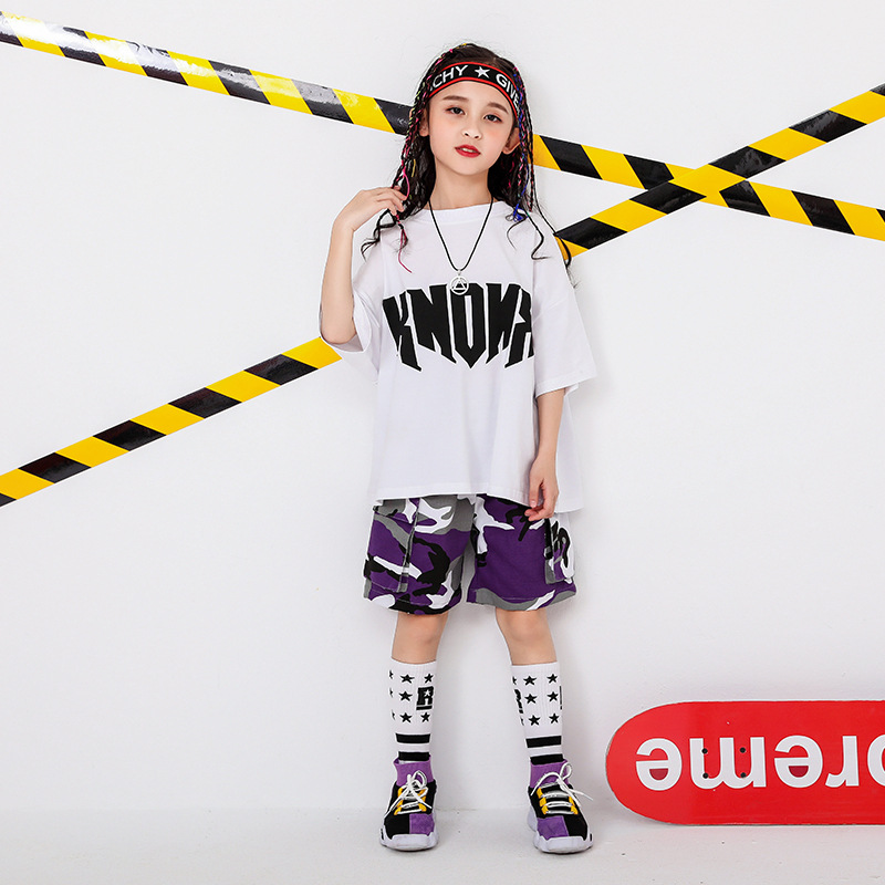 Boys and Girls Fashion Set Round Collar Exaggerated Letters Short Sleeve Camouflage Casual Pants Children Fun Cool Set in Clothing Sets from Mother Kids