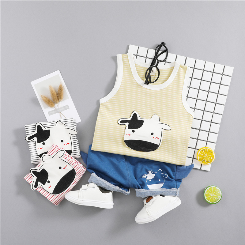 2018 Baby Clothes Set Boy Girl 3D Cows Striped Sleeveless T-shirt + Shorts Casual Suit Summer Children Outfits Cute Clothing