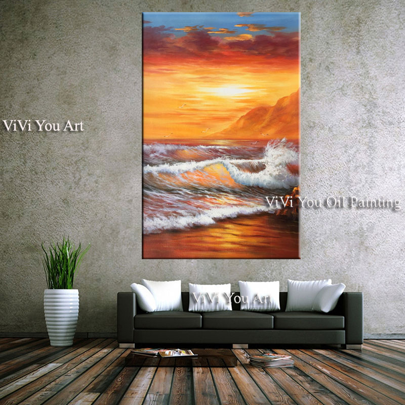 Handmade Sunsets Natural Sea Beach oil painting seascape Canvas Painting Panorama Scandinavian Wall Art Picture for Living Room