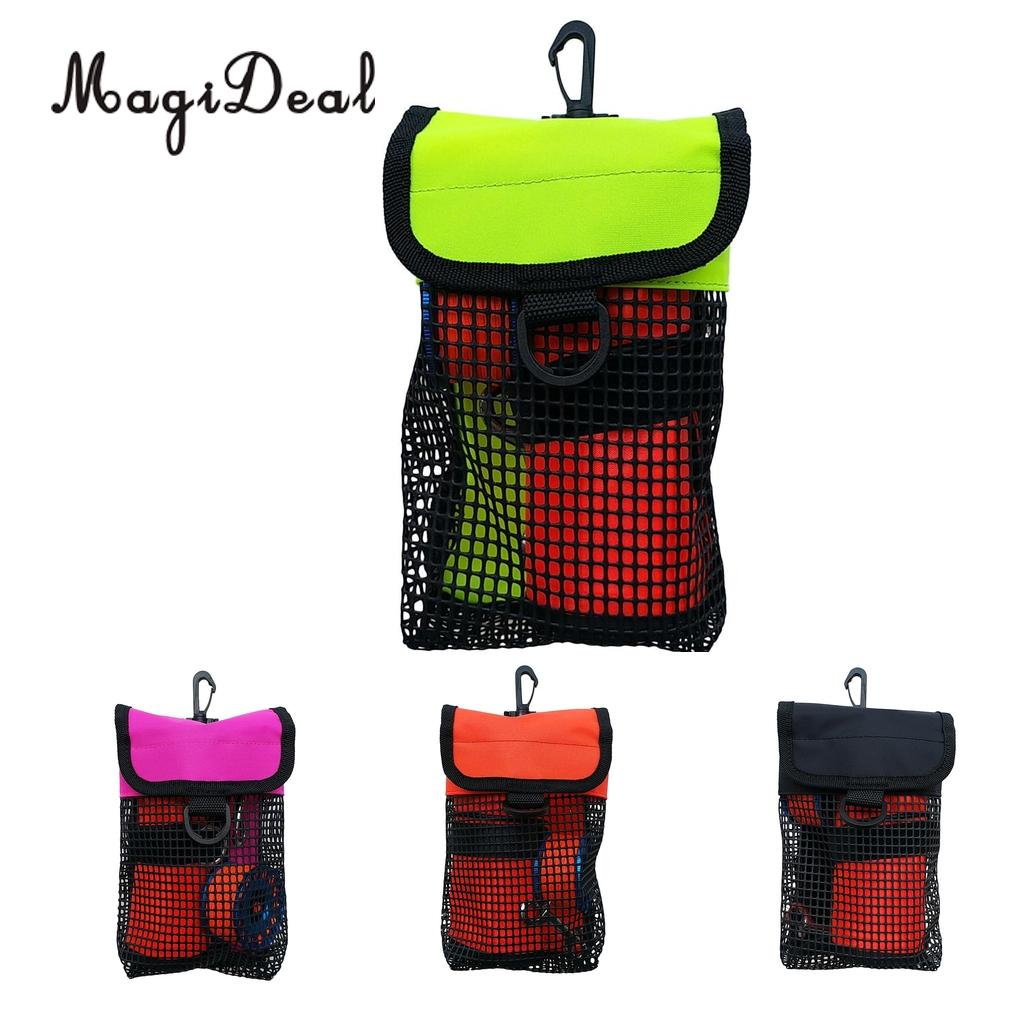 MagiDeal Scuba Diving Reel Bolt Snap & SMB Safety Marker Buoy Mesh Gear Bag Equipment Holder Carry Pouch - Choice Of Colors