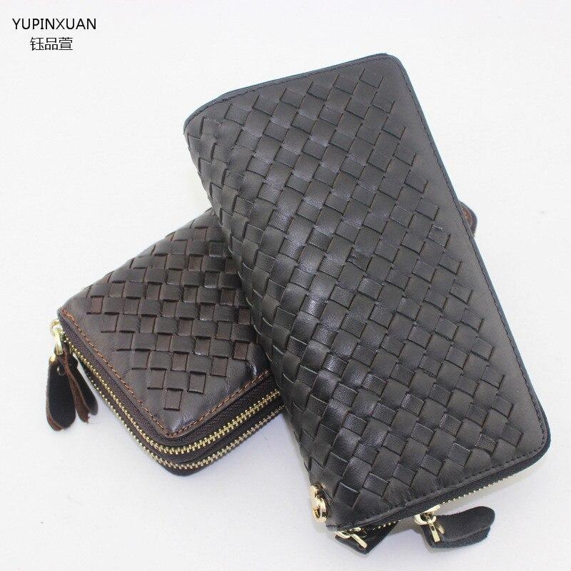 YUPINXUAN New arrivals double zippers plaid wallet brands black wallet designer mens wallets online wallet