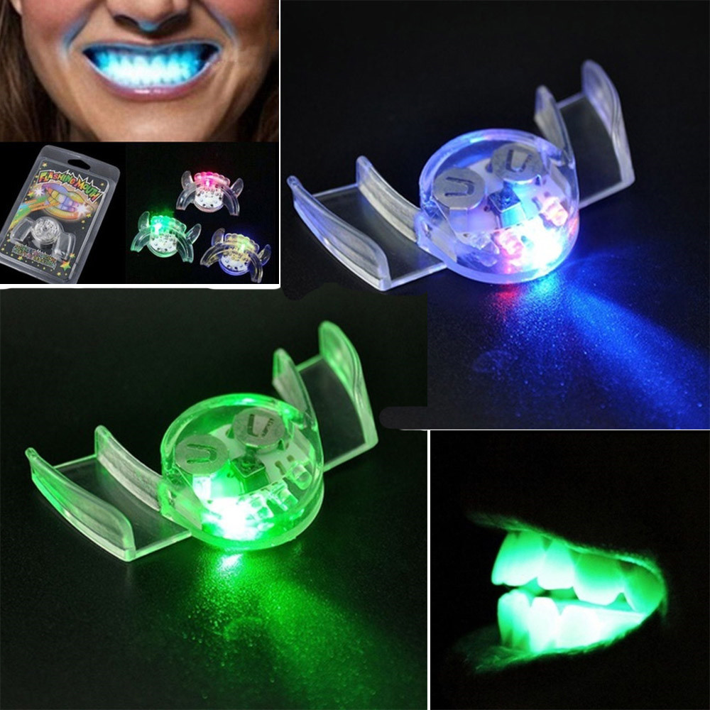 New Glow In The Dark Luminescent Toys Flashing LED Light Up Mouth Braces Piece Glow Teeth For Halloween Party Rave Funny Gift E
