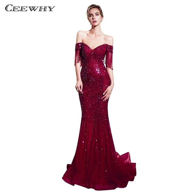 CEEWHY Boat Neck Burgundy Gold Evening Dress Bead Gown Mermaid Dress Formal  Evening Dresses Sequinated Abendkleider Dubai Abiye ce5a30dde2e0