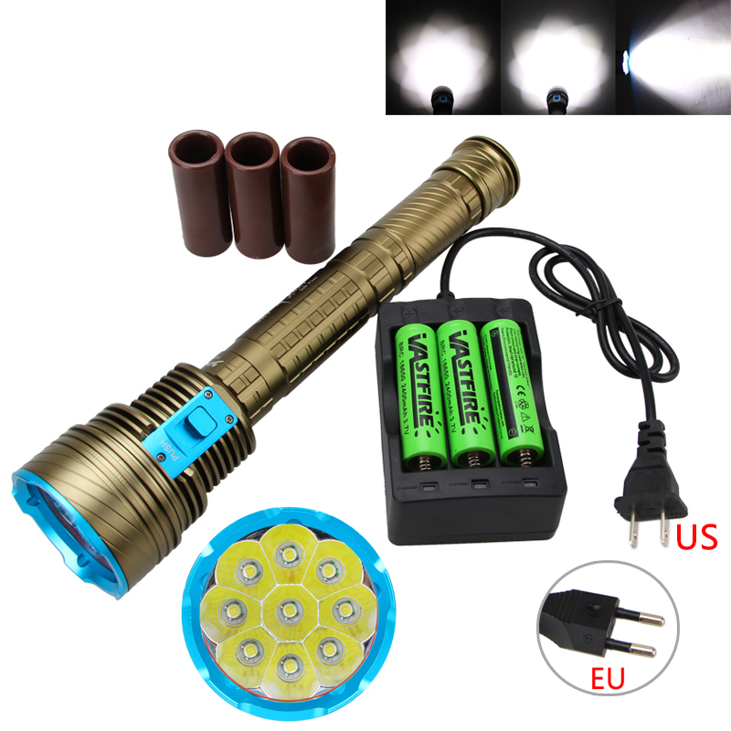 20000Lumen 9x XM-L T6 LED Underwater 100m Scuba Diving Flashlight Hunting Lamp Torch with 18650 Battery+Charger powerful 32000lm 16t6 16 xm l t6 led flashlight torch lamp light for hunting camping with 3 high quality 18650 battery