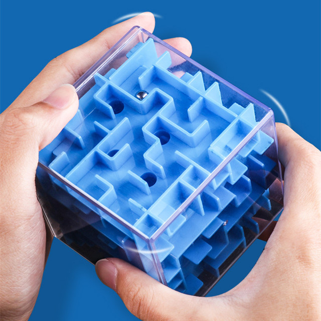 Intellect Magic Cube Box 3D Cube Puzzles Games Steel Ball Maze Toy Hand Fun Balance Challenge Game Toys For Kids Gift 2