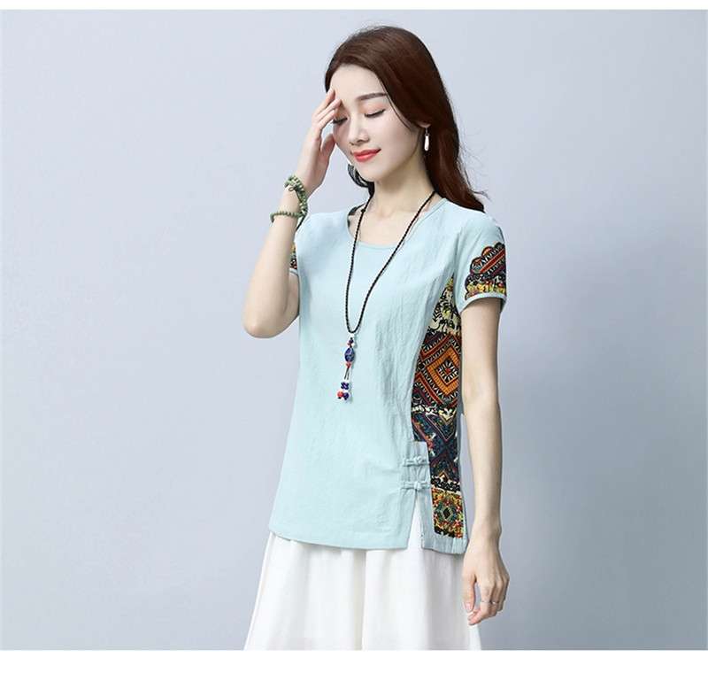 Cotton and Linen Women's 2018 Summer Shirt Loose Short Sleeve Chinese Style Patchwork O Neck Shirt Printed M-3XL 14