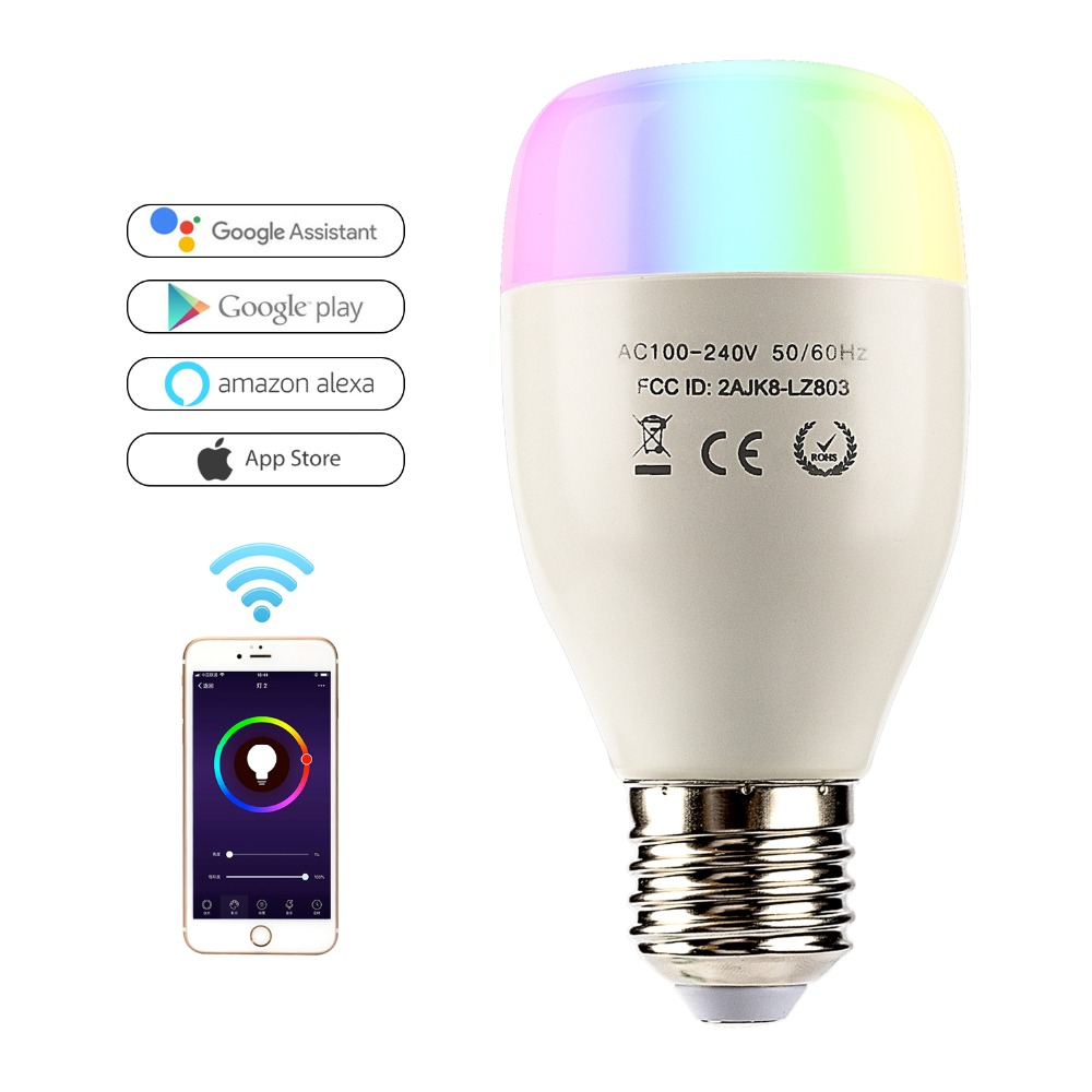 Wifi Smart Bulb 10w App Remote Control Dimmer Led Light Bulb Color Changing Rgbw Bulbs Works With Alexa For Android Ios Light Bulbs