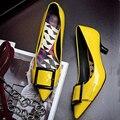 Горячие Продажа 2017 Новых Женщин Высокий Каблук Нагнетает Ботинки Лакированной Кожи Квадратных Пряжки Острым Носом Скольжения На Обувь Для Женщин
