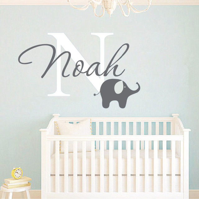 Cute Elephant Vinyl Baby Bedroom Decals Personalized Name Custom Wall  Stickers F739
