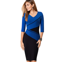 Casual Women Summer Elegant V Neck Short Sleeve Business Work Wear Sheath Bodycon Pencil Dress EB384