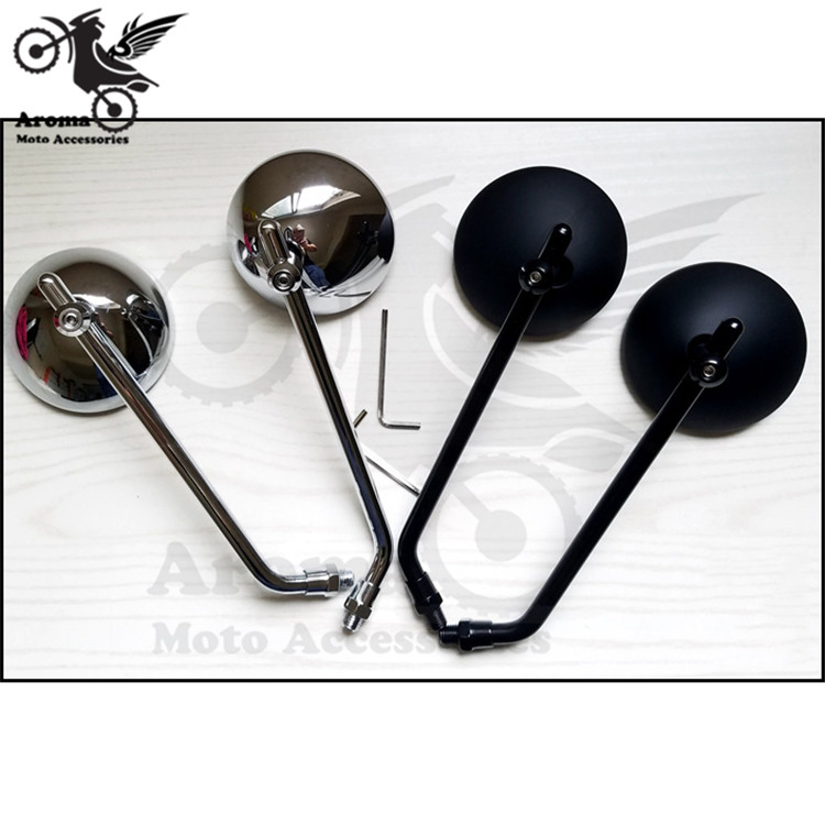 top quality chrome round silver black motorbike side mirror for harley mirrors moto motorcycle rearview mirorr scooter parts