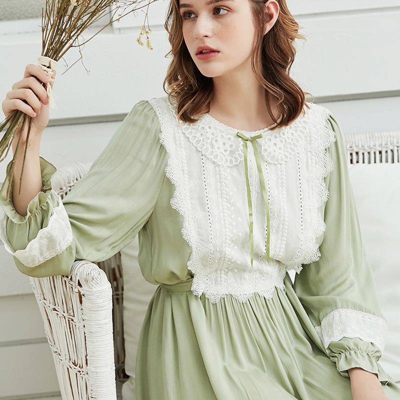 Autumn Lace Women's Nightgowns Light Green Long Sleeve Royal Elegant Female Viscose Vintage Sleepwear Sweet Night Dress 180823