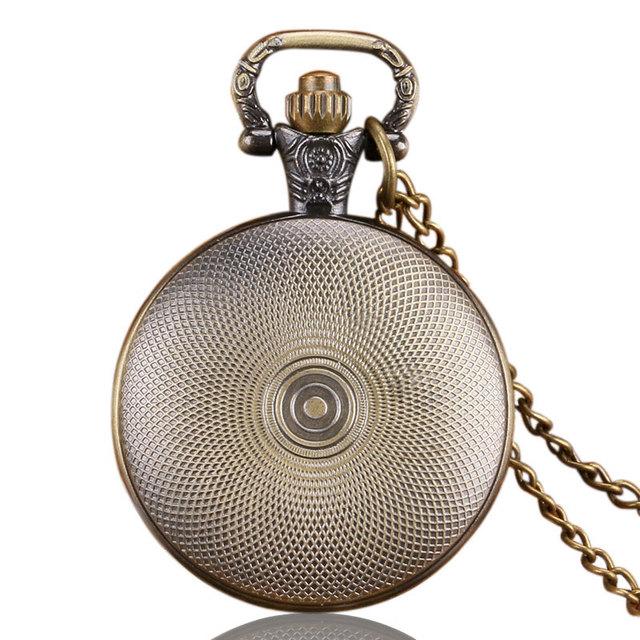 Bronze Cool Fashion World of Warcraft Draenei Theme Quartz Pocket Watches Fashion Necklace For Boy Men Gift Pendant Clock Hours