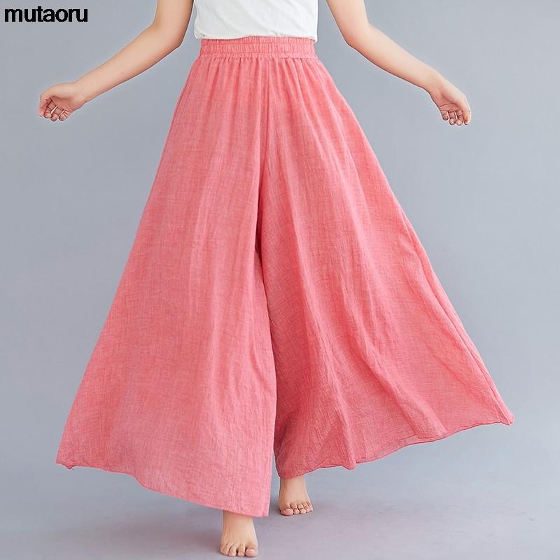 2019 summer autumn loose   wide     leg     pants   women Linen cotton   pants   Elegant High Waist Ladies Casual Elastic Waist saia feminina
