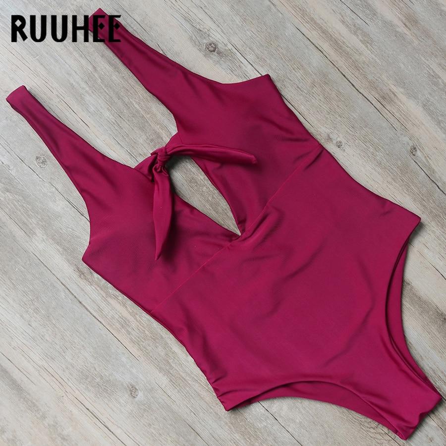 RUUHEE Swimwear Women One Piece Swimsuit V Neck Bodysuit Sexy Solid Bathing Suit Monokini Backless Swimming