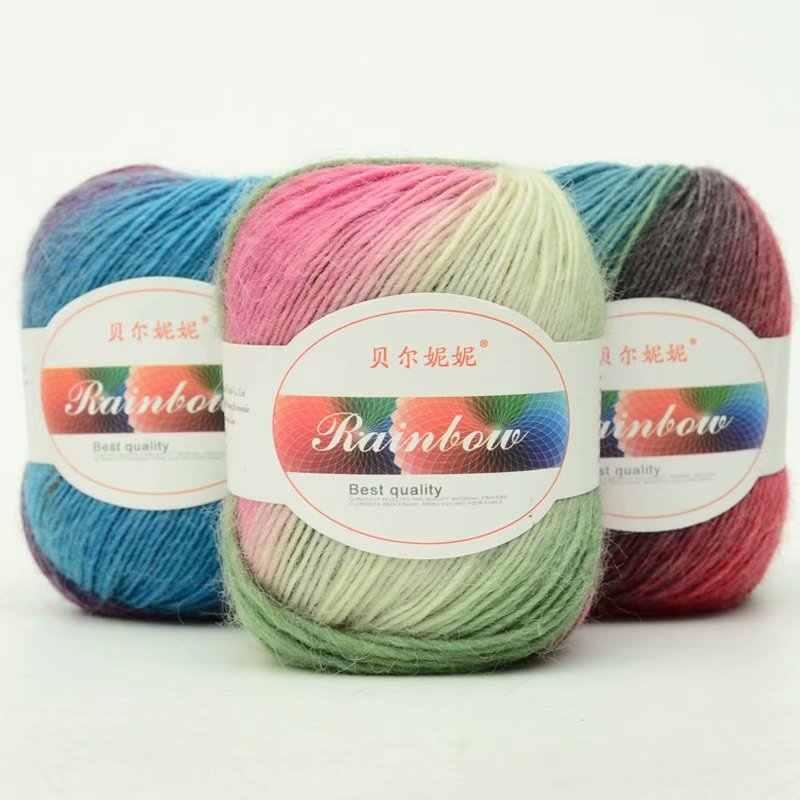 Fil de laine arc-en-ciel teint Duan 50g/boules, fil de couleur dégradé, châle crochet, écharpe, tricot en laine bijoux VP002