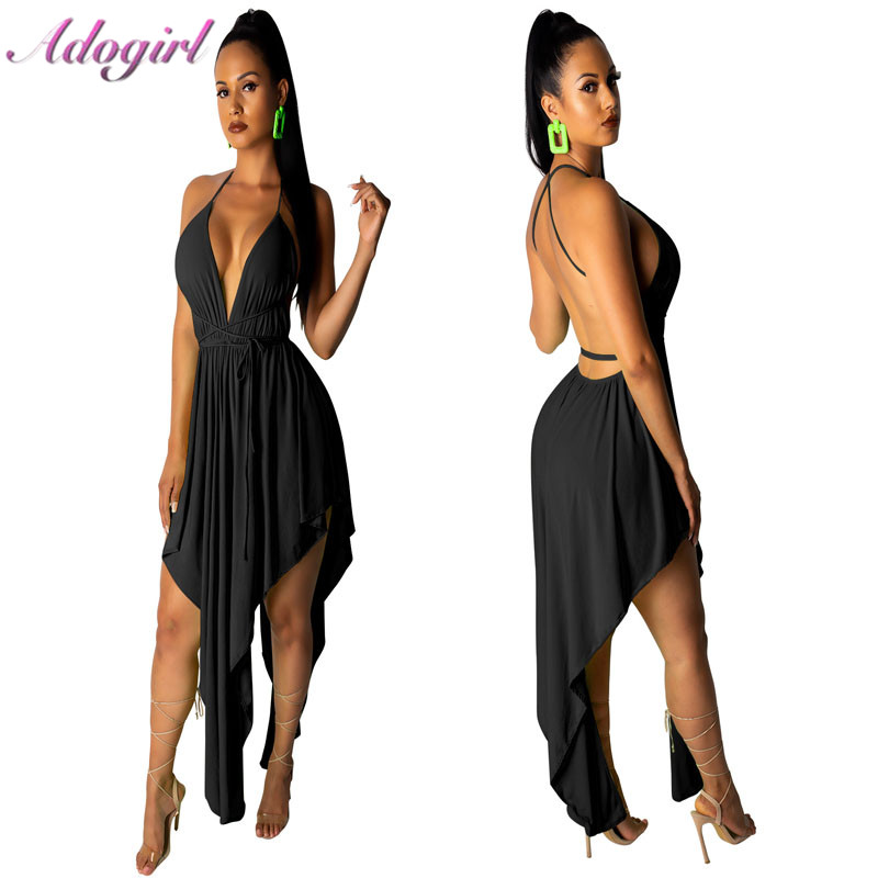 Adogirl Women Summer Beach <font><b>Dress</b></font> <font><b>Sexy</b></font> <font><b>Lace</b></font> Up Halter Deep v Neck Irregular <font><b>Party</b></font> Club <font><b>Mini</b></font> <font><b>Dresses</b></font> <font><b>Female</b></font> Casual Outfit Vestidos image