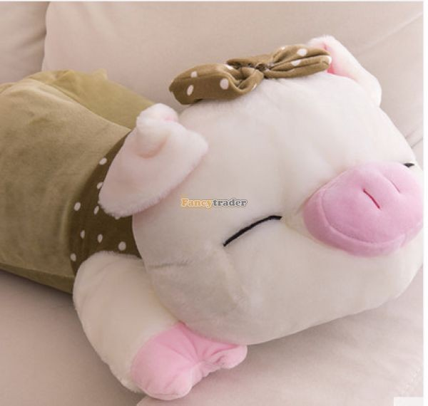 Fancytrader Hot Selling 35\'\' 90cm Super Lovely Soft Stuffed Giant  Lying Pig Toys ,3 Colors Available!Best Gift and Decoration for Kids, Free Shipping FT50069(8)