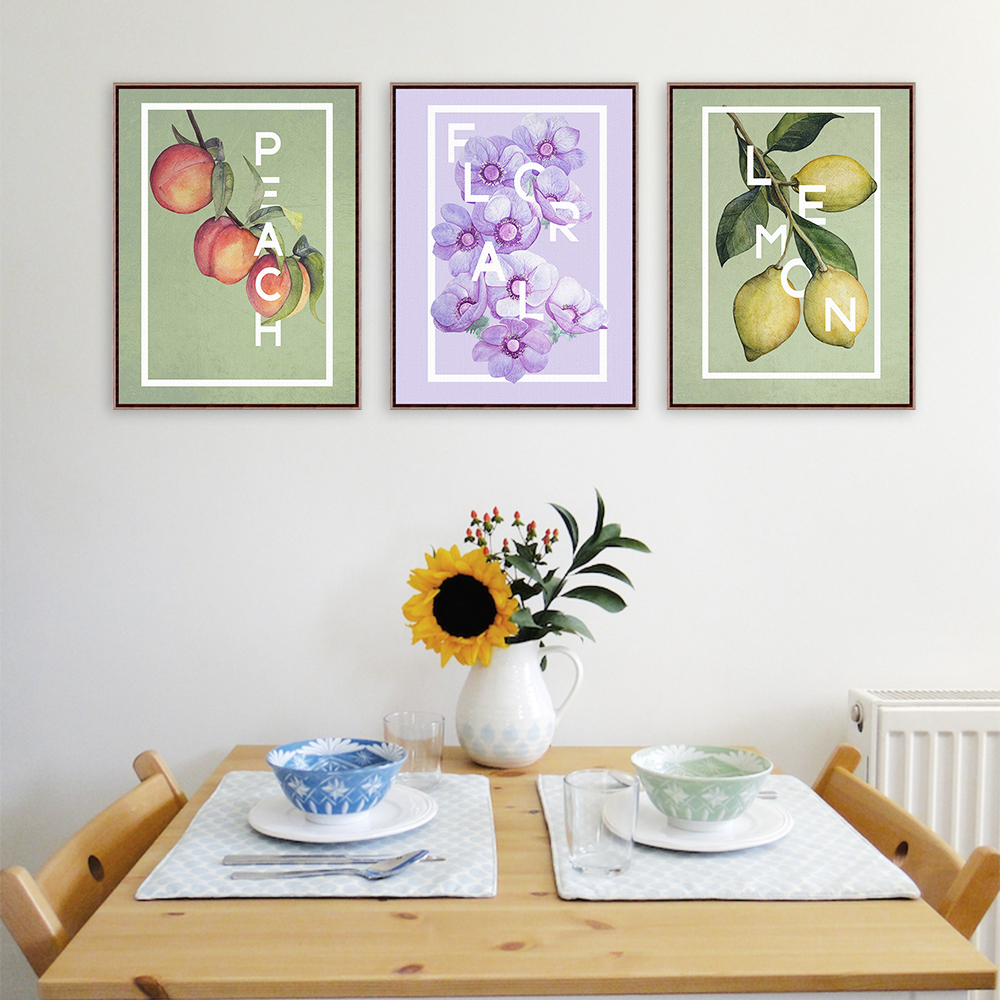 triptych modern fruits lemon flowers a4 art prints poster peach floral wall picture canvas painting no