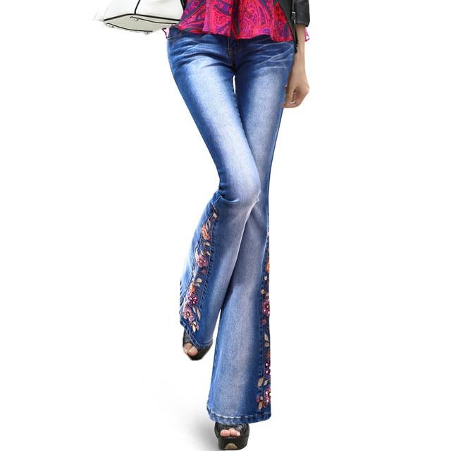 2018 Primavera de Luxo Bordado Flares Cintura Alta Queimado Calça Jeans  Feminina Boot Cut Beading Fino 872e0e7be5