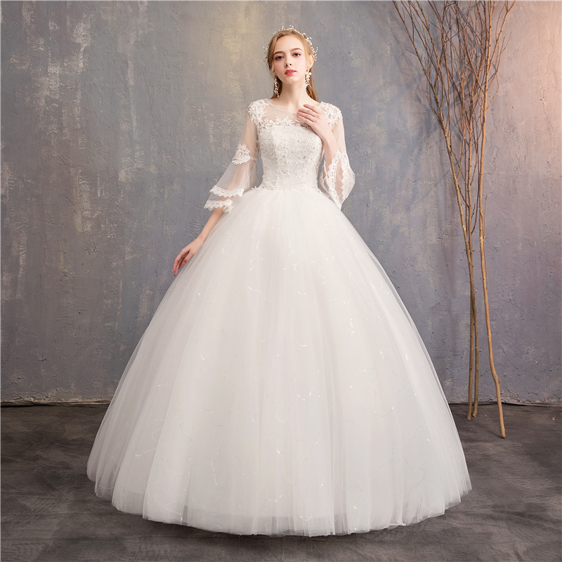 Simple Wedding Dresses Vogue: Fashion Simple Ball Gown Sweet Flare Full Sleeves White
