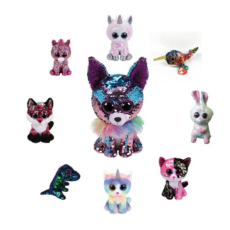 TY Beanie Boos 15cm sequin Unicorn Dog Dragon Chihuahua Fox dolphin Plush Toys Big Eyes Eyed Stuffed Animal Soft Toy Kids Gift