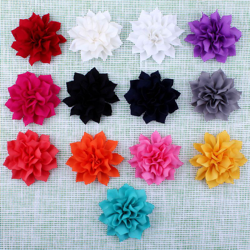 120pcs 3.6 13Colors Hot Artificial Double-Layer Lotus Flowers With Clips Hair Accessories Winter Fabric Flowers For Headbands