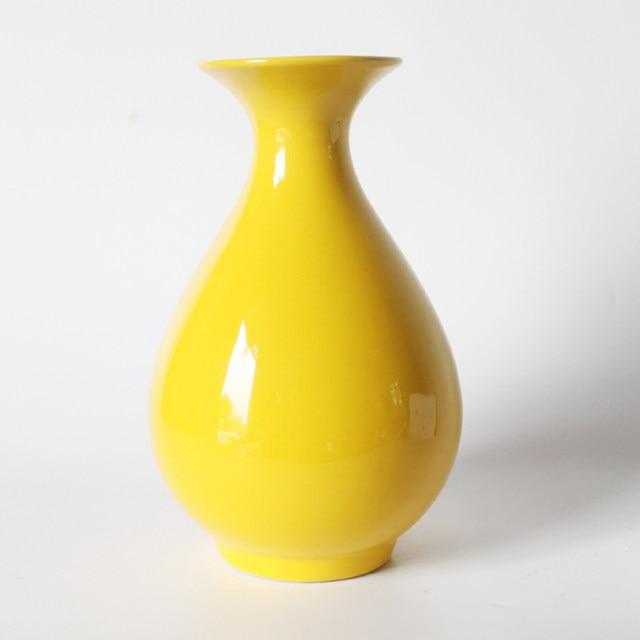Online Shop Yellow Vase Jingdezhen Ceramic Floret Bottle Pure Yellow