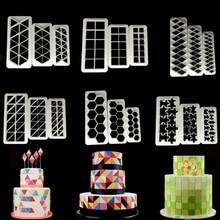3 шт. квадратные геометрические фрезы для помадки, резак для печенья, форма для торта, форма для помадки, инструменты для украшения торта, 6 видов конструкций для выпечки