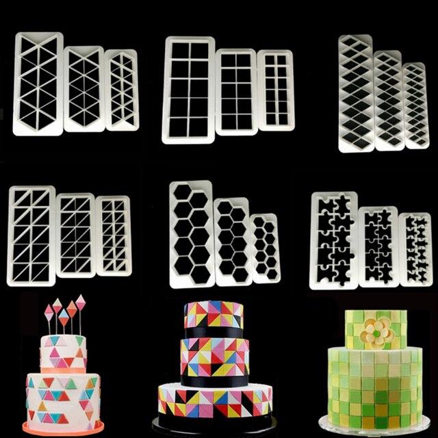 3pcs כיכר גיאומטרי Cutters יצק קוקי קאטר גיאומטריה עוגת עובש פונדנט תבנית אפיית 6 עיצובים