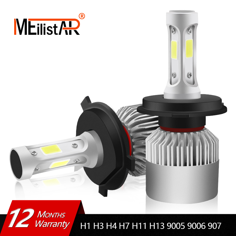 MEILISTAR H4 LED Bulb H7 H1 H3 H8 H9 H11 H13 9005 HB3 9006 HB4 880 881 H27 9004 9007 Auto Headlamp 8000LM COB Car Light LED Lamp 2x car led headlight 12v 24v 72w 8000lm 6000k light cob bulbs automobile headlamp h1 h3 h4 h7 h8 h11 9005 9006 9004 880 9007 h13