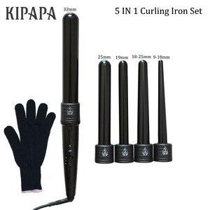 Image 3 - KIPAPA 5 P Curling Eisen Haar Curler 9 32 MM Berufs Locken Irons 0,35 zu 1,25 Zoll Keramik Styling werkzeuge Haar Tong Austauschbare