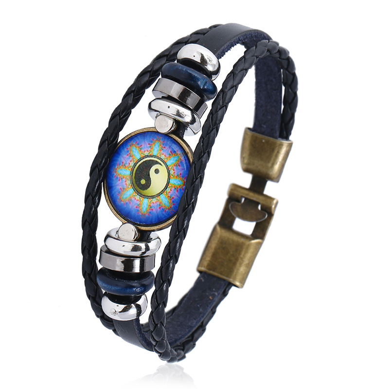 2018 New Tai Chi Leather Bracelets for Best Friend Indian Jewelry Braslet Femme Bijoux pulseras hombre Gift for Boys