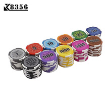 K8356 25PCS/Lot 14g Board Game Clay Film Chips Coins Baccarat Texas Holdem Mahjong Double Color Crown Poker Playing