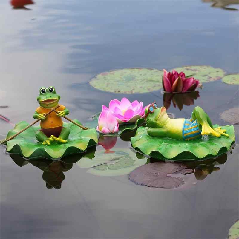 Żywica kreatywny pływające żaby statua na świeżym powietrzu ogród staw/oczko wodne dekoracyjne śliczne żaba rzeźby do domu biurko ogród Decor Ornament