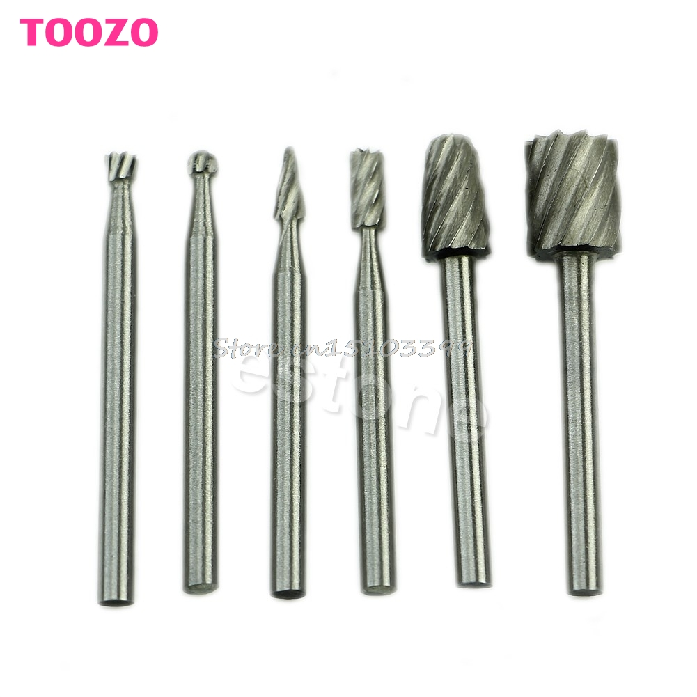 Hot 6Pcs HSS Routing Router Grinding Bits Burr For Rotary Tool Dremel Bosch Mini #G205M# Best Quality