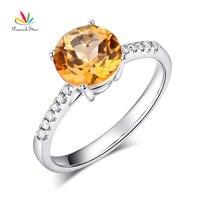 الطاووس ستار 14 كيلو الذهب الأبيض الزفاف خاتم الخطوبة 2 ct الأصفر توباز 0.12 قيراط الماس الطبيعي