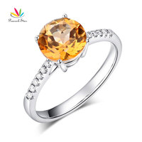 Peacock Star 14K White Gold Wedding Engagement Ring 2 Ct Yellow Topaz 0.12 Ct Natural Diamond