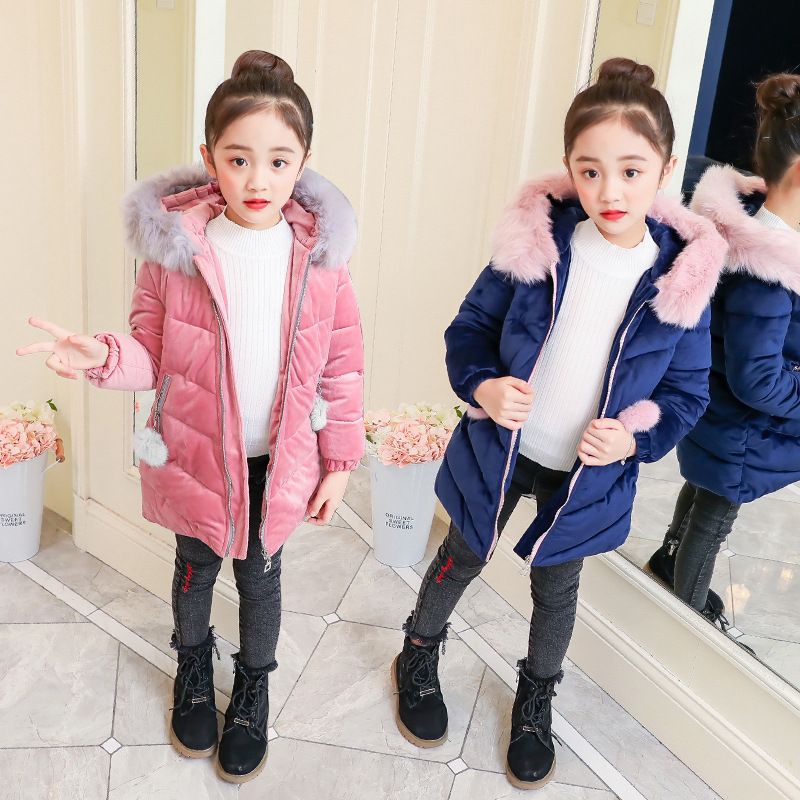 Girls Down Coat Winter Clothes Size 4 6 8 10 to 12 Years Long Sleeve Zipper Hooded Wool Coat Kids Cardigan Warm Clothing 5R05A цена