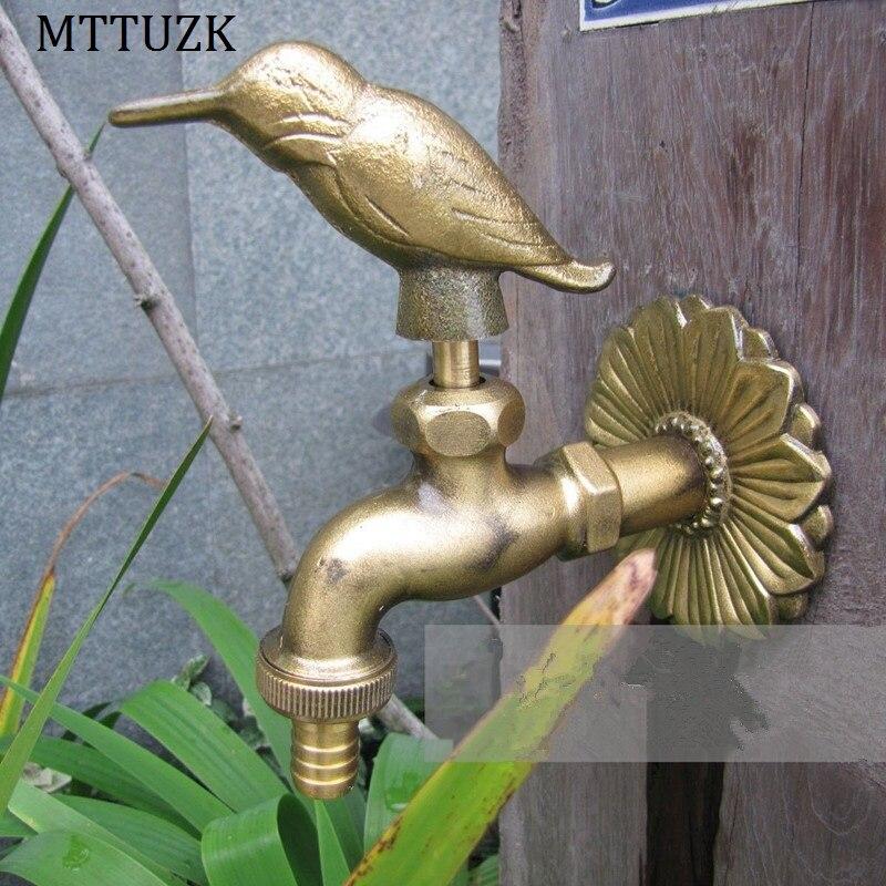 MTTUZK outdoor garden faucet animal shape garden Bibcock with antique brass woodpecker tap for washing mop