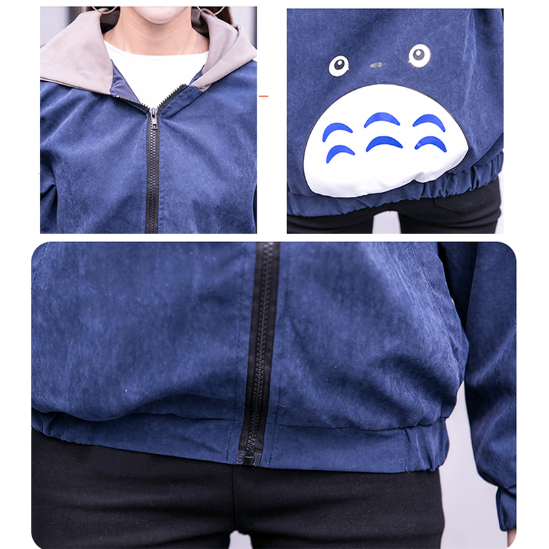 2019 Autumn Jacket Womens Streetwear Patchwork Hooded Totoro Jackets Kawaii Basic Coats harajuku Outerwear chaqueta mujer 46