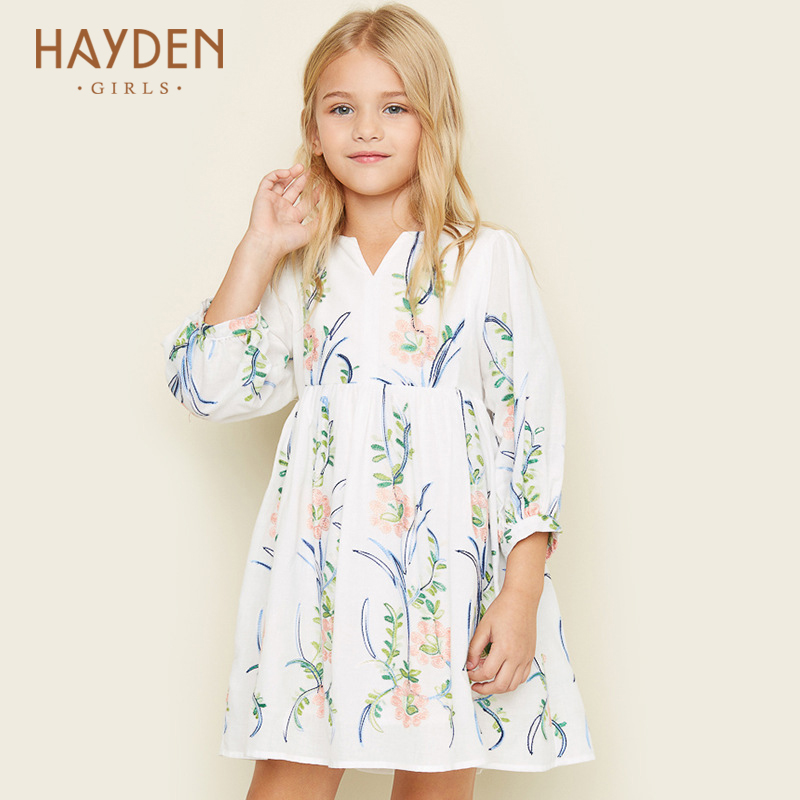 HAYDEN flower girls dress 2017 summer children costume party frocks teenage girls clothing 7 9 11 13 teen girl clothes princess hayden girls boho ethnic dress designs teenage girls national embroidered dresses flare sleeve loose fit dress for 7 to 14 years